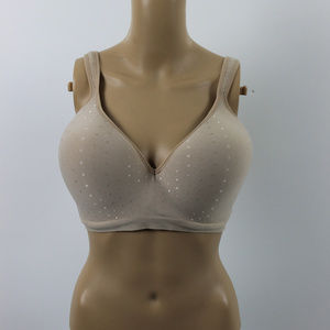 Bali 40DD cream and dot wireless bra